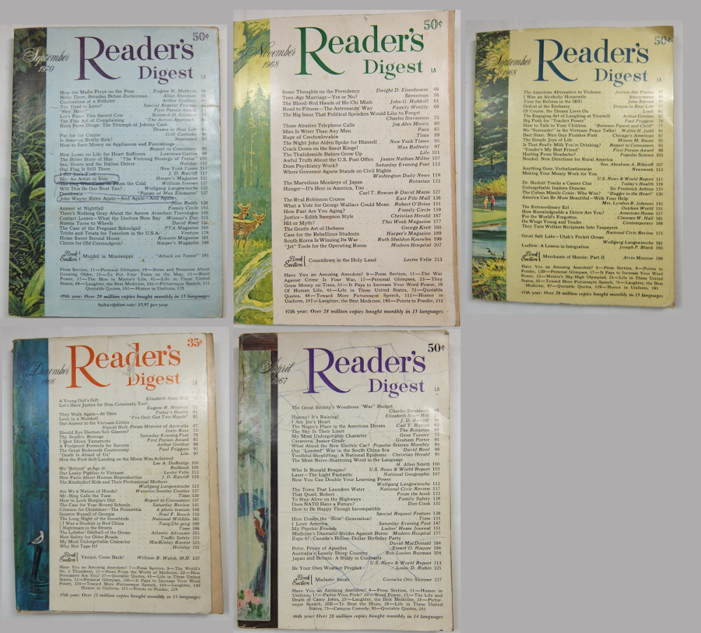 Ebay Research Indicates that Lots of Readers Digest Magazines Sell Well